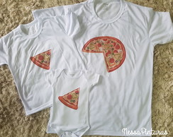 Kit Camiseta Pizza Pai e Filhos(as)