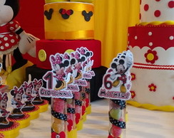 Tubetes com aplique Minnie mouse