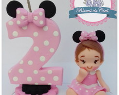 Topinho vela minnie rosa