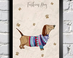 Poster com moldura Fashion Dog 3