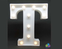 Letra T Luminosa Led 3d A Pilha