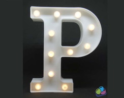 Letra P Luminosa Led 3d A Pilha