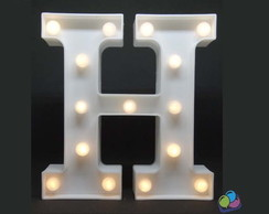 Letra H Luminosa Led 3d A Pilha