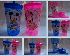 Copo c/ Canudo 500ml Mickey Minnie Baby
