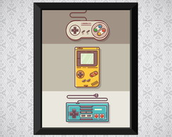 Quadro - Controles Video Game - Nostalgia - 30x21cm