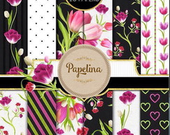 Kit Digital PAPEL FLORAL TULIPAS - 13