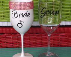 Taça Bride e Groom com strass
