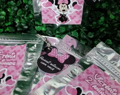 Saquinhos zip metalizados Minnie rosa