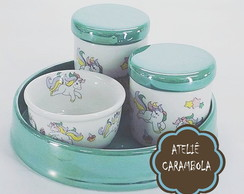 Kit de higiene Unicórnio verde Tiffany