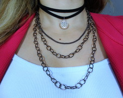 Colar Choker Mix Correntes Grafite