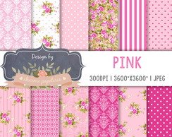Kit Papel Digital Floral Rosa Pink