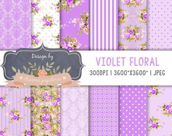 Kit Papel Digital Floral Violeta lilás