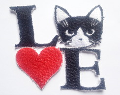 Patch Bordado Termocolante Love Gato