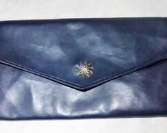 maxi clutch/carteira envelope azul lisa