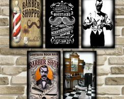 Kit c/ 5 placas quadro Vintage Barber Shop + 01 Placa Brinde