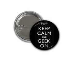 Botton Keep Calm and Geek On - 2,5cm
