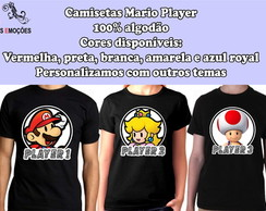Kit com Três camisetas Mario Player