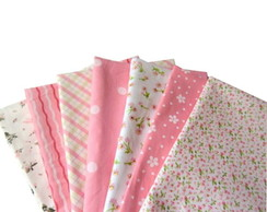 Kit Tecido Rosa p/ Patchwork 7pc-50x50