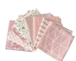 Kit Tecido Rosa/Nude Patchwork 50x50-8Pc