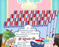 4afeef8a93db3 Arte Digital Convite Urso Marinheiro no Elo7