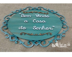 PLACA OVAL COM ARABESCO