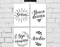 Kit 4 Placas Decorativas 20x30 Frases
