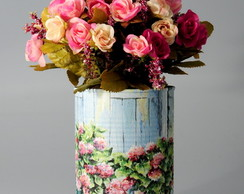 Arranjo Vasos Floridos com Buquet de Mini Rosas Artificiais