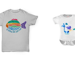 Par camisa + body infantil mar branco