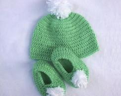 Touca Mesclada Verde · Transforma Crochê. R  34 ab76af27df1