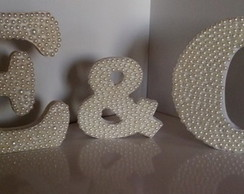 Kit 3 Letras Mdf Decoradas com Pérolas