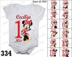 Kit body mesversario minnie 12 boris personalizados nome