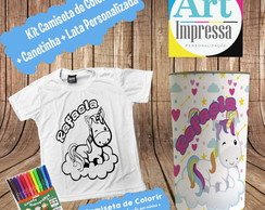 Kit Camiseta de Colorir + Lata Unicornio