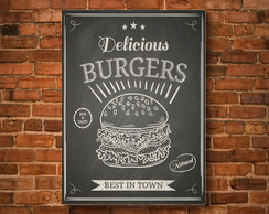 Placa Decorativa - Delicious Burgers