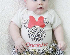 Body Bebe Minnie Oncinha Fantasia Bebe