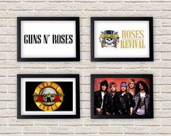 Kit 4 Quadros Decorativos Guns'n Roses
