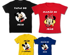 Kit Família Mickey Color com 4 camisetas