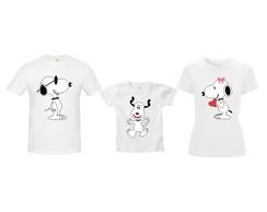 Camiseta Pai Mae Filho Snoopy Menino  dc158b7eef2e6