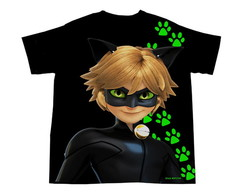 Camiseta Adulto Lady Bug ou Cat Noir