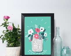 Quadro Decorativo MDF Frase Summer