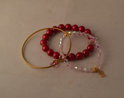 MIX DE PULSEIRAS CANDY COLORS,ROSA,PINK