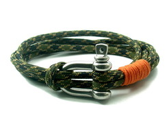 Pulseira Masculina Paracord Lumberjack - Army|Orange