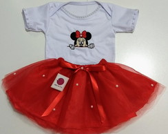 Kit Saia Tutu + Body Minnie Vermelha