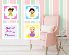 Kit 4 Quadros Princesas - 23x23