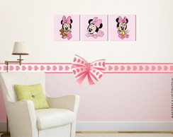 Kit 3 Quadros Minnie Baby 30x30cm - Quadros Minnie Mouse