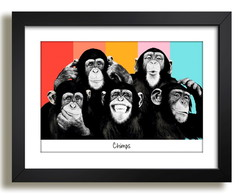 Quadro Macacos Chimps PopArte n8 Chimpanze Animais Decoracao