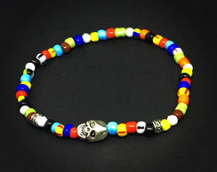 Pulseira Multi Color Skull Silver