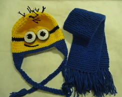 Touca e Cachecol de Croche Minion Adulto