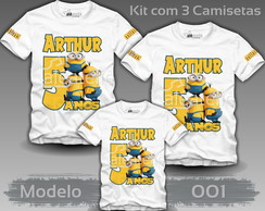 Kit 3 Camisetas Minions Malvado Favorito