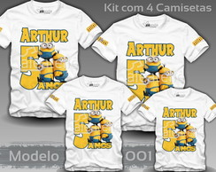 Kit 4 Camisetas Minions Malvado Favorito