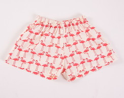 "Shorts ""Amor de Flamingo"" 1 ano"